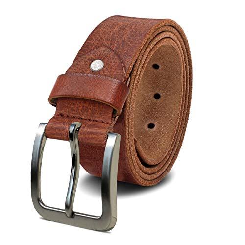 ROYALZ Herren Ledergürtel aus robusten 4mm Büffel-Leder, Vintage Hose Jeans-Herren-Gürtel Voll-Leder, Größe:125, Farbe:Cognac Braun - Schnalle gebürstet