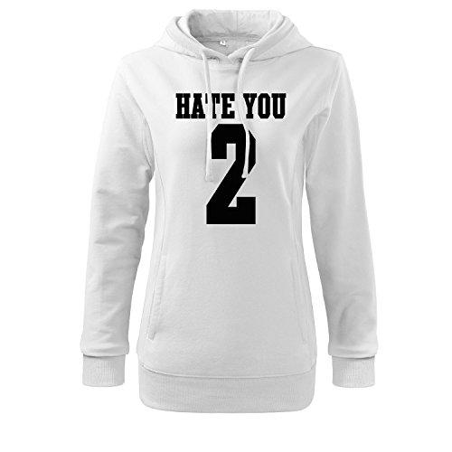 Damen Slim fit Pulli hate you 2 Motiv Sweats-Top Shirt - witziges bedruckter Pullover als kreative Geschenk Idee (346-S 408-Weiß-M) (Eddie Bauer Damen Vier)