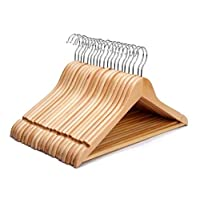 20 x Strong Wooden Coat Hangers for Clothes with Round Trouser Bar and Shoulder Notches