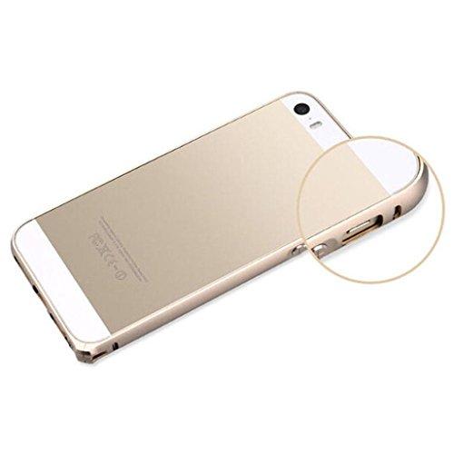 Ouneed® Luxux nehmen Metall Aluminium Legierung Arc Stoßfeld Fall Abdeckung Schutzhülle für iPhone SE 5 5S Case Cover (Gold) Gold