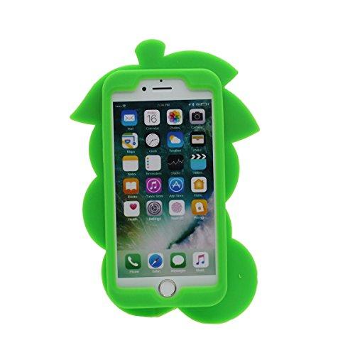iPhone 7 Coque Case Silicone Gel 3D Fruit Vert Grain de raisin Apparence Original Désign Souple étui pour Apple iPhone 7 4.7 Anti Choc Vert