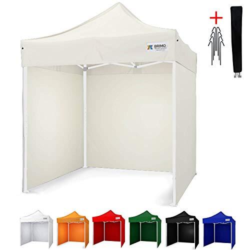 Party zelt Exclusive BRIMO ® Komplett 3 volle Wände + 8 Verankerungsdübel und Schutzhülse Gratis! (2x2m, Beige)