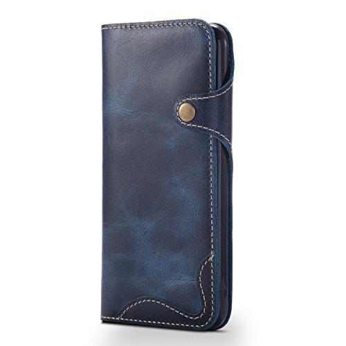 Coque iPhone 8, iPhone 7 cas, AOMO véritable matériel en cuir avec des boutons [porte-cartes] [Vintage Classic Series] [tout autour de la protection] Retro housse de protection en cuir Étui de télépho ZPNKbleu