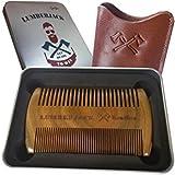 Peine de la barba doble acción, regalo de los hombres - peine del sandalwood para la barba y la bolsa verdadera del cuero, tamaño de bolsillo, dientes gruesos finos, peine de madera antiestático, perfecto para los aceites y los bálsamos de la barba