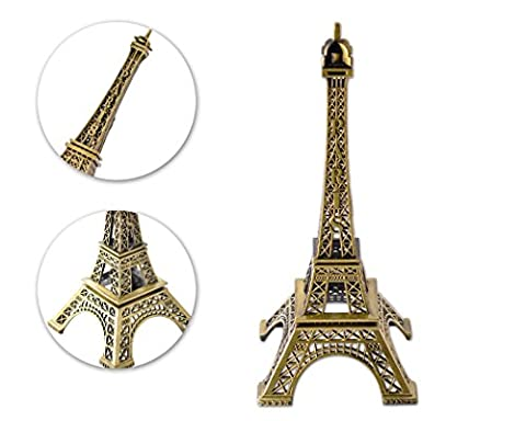 Eiffel Tower Metallic Model Statue Figurine Replica Centerpiece for Desk Room Home Office Decoration Gift - 15cm