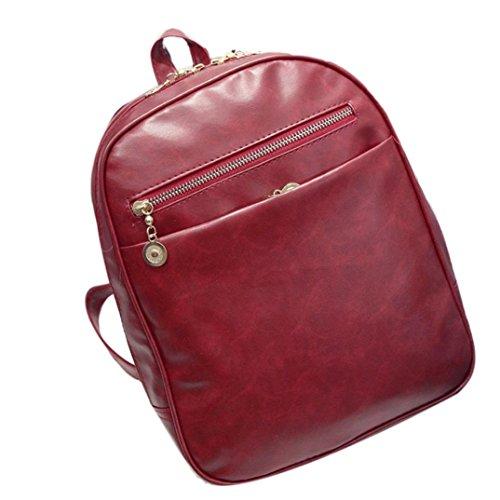 BZLine® Frauen Leder Tasche Schulter Tasche Rucksack Modeschule Rucksack, 31cm*25cm*9cm Weinrot