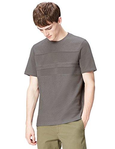 Muster Streifen T-shirts (find. T-Shirt Herren mit geprägtem Muster, Streifen und lockerer Passform, Grau (Slate Grey), 50 (Herstellergröße: Medium))