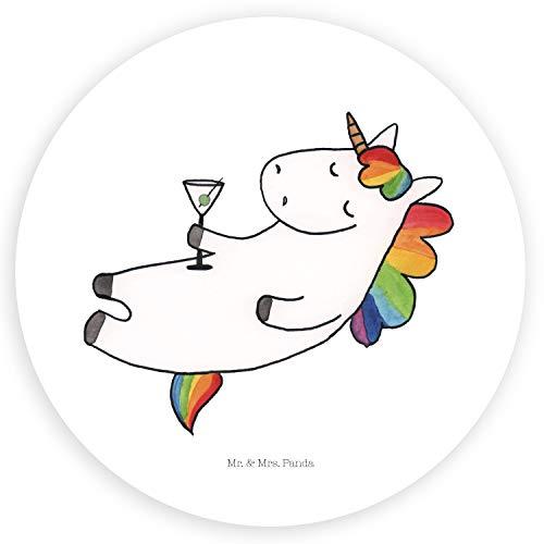 Mr. & Mrs. Panda Aufkleber, Etikett, 40mm Rund Aufkleber Einhorn Cocktail - Farbe Weiß