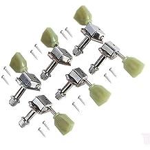 Juego de clavijas de afinación de repuesto Kmise 3L3R para guitarra eléctrica Gibson Les Paul, Chrome w/Green Button