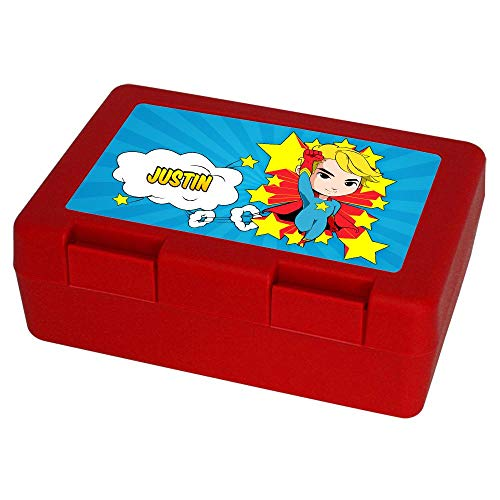 Eurofoto Brotdose mit Namen Justin und Motiv mit Superheld zur Einschulung für Jungen | Brotbox rot | Vesperdose | Vesperbox | Brotzeitdose mit Vornamen