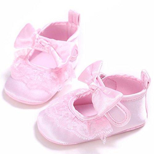 Babyschuhe Longra Baby Mädchen Bogen-Knoten Canvas Schuhe Sneaker rutschfest weiche Sohle Lauflernschuhe Bootschuhe (0 ~ 18 Monate) Pink