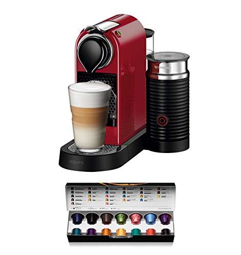 Krups Nespresso XN7605 Kapselmaschine CitiZ&milk mit Aeroccino, Thermoblock-Heizsystem, 1 L Wasserbehälter, 19 bar, cherry-rot