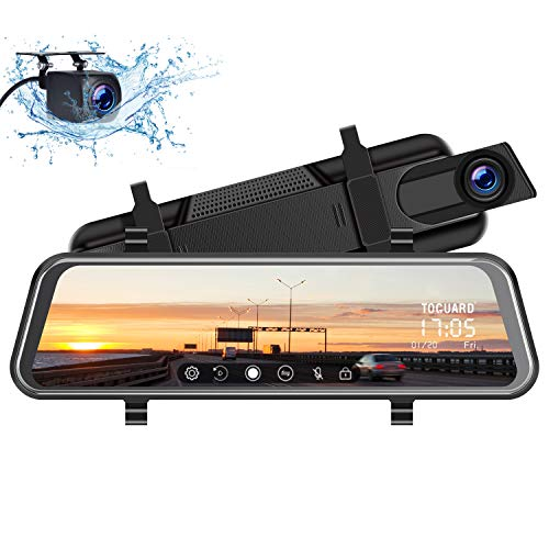 "TOGUARD Mirror Dash Cam 10"" Full Touch Screen, Dual Dash Cam Front and Rear Video Streaming Rear View Mirror Car Camera with Night Vision Waterproof 1080P Rear Camera"