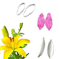 6Pcs Lily Petal Veiner & Cutter Sets Wedding Cake Decoration Floral Petal Molds Stainless Steel Sugarcraft Cookie Cutters Silicone Fondant Gumpaste Mould Sugar Cake DIY Decorating Moulds Bakeware Pan