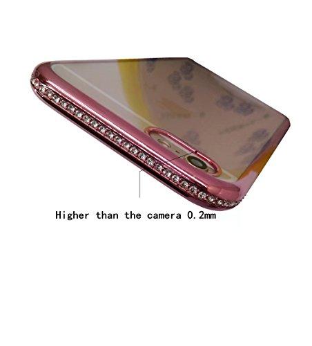 Custodia iPhone 6/6S Case placcato TPU diamanti Transparente guscio morbido soft shell,splendente Silicone Custodia vor lucido custodia cover case+protezione per schermo(4.7Cigno) Doro