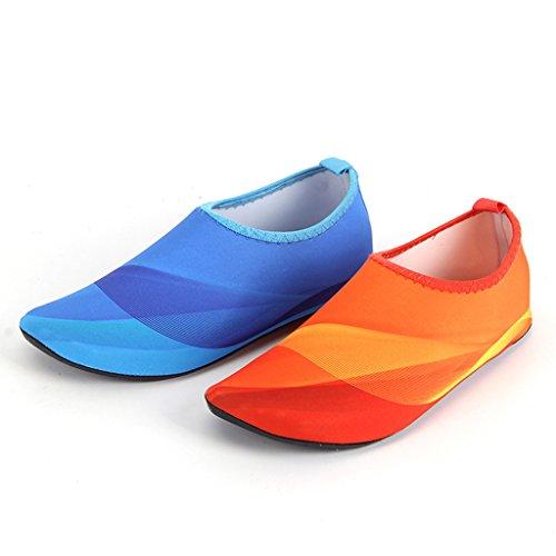 GWELL Unisex Farbverlauf Strandschuhe Surfschuhe Schnell Trocknend Aquaschuhe Barfußschuhe Wasserschuhe Schwimmschuhe für Damen Herren Orange