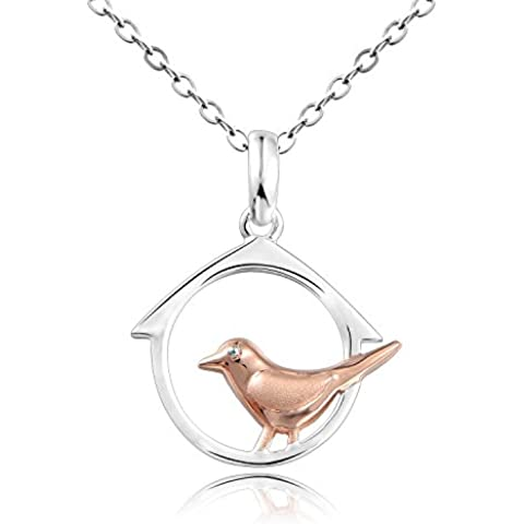 Dormith® Plata de ley 925 collares para las mujeres Pájaro En Círculo colgante de collar chapado en plata moda