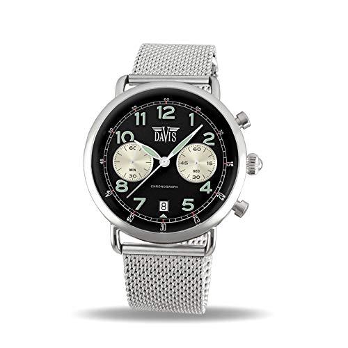 Davis Reloj Cronógrafo para Unisex Adultos de Cuarzo con Correa en Acero Inoxidable 2120MB