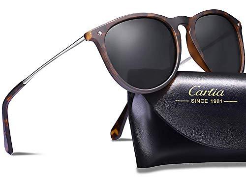 Carfia Vintage Polarisierte Damen Sonnenbrille Herren Sonnenbrille Fahrer Brille 100% UV400 Schutz für Autofahren Reisen Golf Party und Freizeit - Ultraleicht Rahmen (Damen&Schwarz-2) (Runde Sonnenbrillen Frauen)