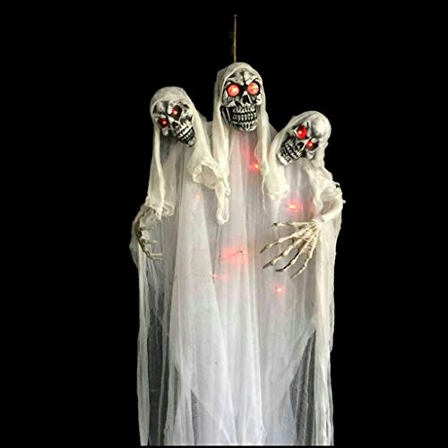 Kostüm Weiße Ghost Decke - Halloween Dekoration/Hanging Ghost Sound aktiviert Augen leuchten Party hängen Skeleton Requisiten für Haunted House Party Horror Theme Bar-Weiß