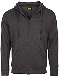 Mens Full Zip Hooded Sweatshirt Jacket Sizes S To 6XL by Mig - Plain Hoodie For Sports Casual Work Leisure