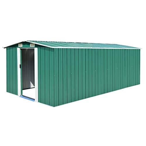vidaXL Caseta de Jardín de Metal Verde 257x497x178cm Jardín Patio Cobertizo