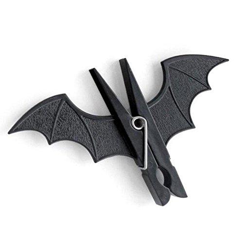 Kicode Fledermaus geformter Clip 2 Stück Gespenstisch Halloween Party Dekor Batman Startseite Kleidung Handtuchhaken Hängende Stöpsel (Halloween-dekor)