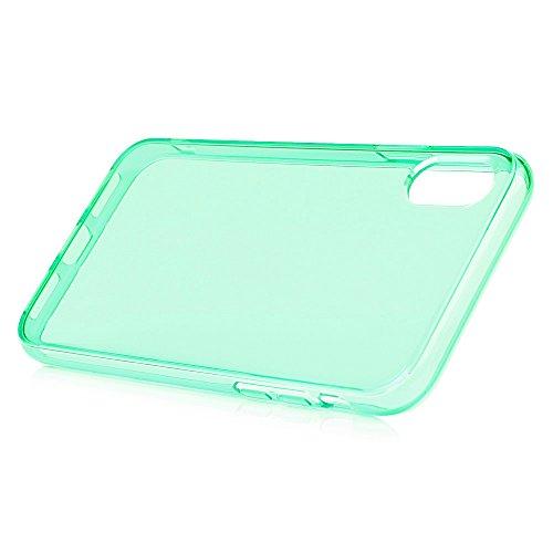 MAXFE.CO TPU Silikon Hülle für iPhone X Handyhülle Schale Etui Protective Case Cover Rück mit Einfarbig Skin TPU Kantenschutz Verdicken 1.22 MM Schutzhülle Rose Rot Hellgrün