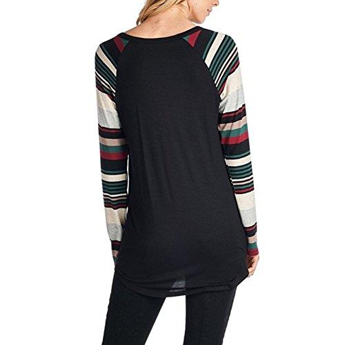 Camicetta Donna Natale - Maglie Maniche Lunghe Tshirt Tonda Collo Pullover Manica Colourful Tops Bace Autunno Primavera Nero Rosso Giallo S / M / L / XL Yuxin Nero #1