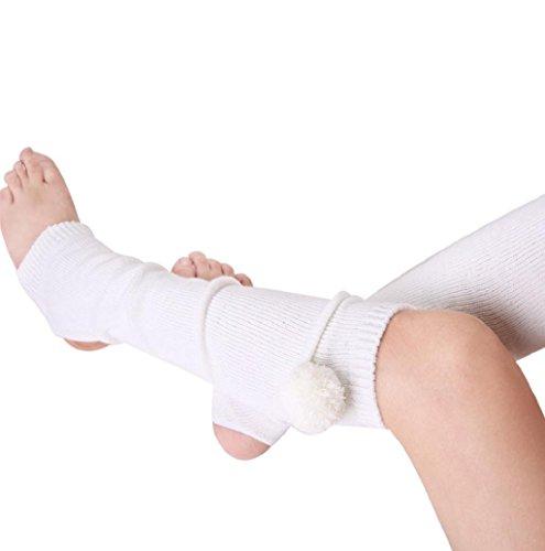 Rosennie Damen Gestrickt Bein Wärmer Yoga Socken Boot Abdeckung Weiß (Gestrickte Bein-wärmer)