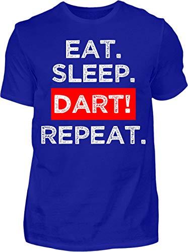 Kreisligahelden T-Shirt Herren Eat. Sleep. Dart! Repeat. - Kurzarm Shirt Baumwolle mit Spruch Aufdruck - Hobby Freizeit Fun Dart Darts 180 (XL, Blau)