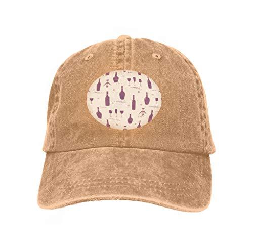 Baseball Caps Cowboy Hats Sun Hats Pattern Wine Glasses Bottles Corkscrew Seamless Making tasti Sand Color