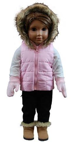 Pink Winter Hoody Vest,Shirt,Pants,Gloves Fits 18