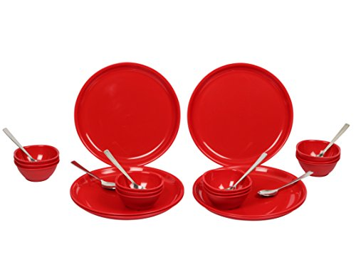Gluman Dinner Set - Sparkle 24 pcs Round (Red) - GM-DS-SP-24RR  available at amazon for Rs.1380