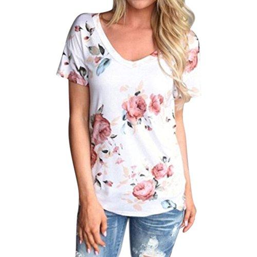 Damen Tops, Sannysis Frau Ärmellos Hemden Bluse Tank Tops T-Shirt (Weiß3, L)