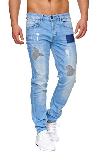 TAZZIO Slim Fit Herren Destroyed Look Stretch Jeans Hose Denim J-1009 Blau