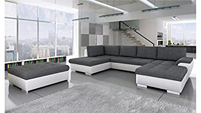 BMF Tokio Maxi WHITE GREY Corner Sofa Bed with POUF - Faux Leather/Fabric Left Facing GOOD PRICE !!! by BMF