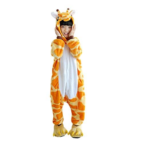 DarkCom Kinder Kigurumi Strampelanzug Pyjamas Tier Cosplay Kostüme Cartoon Jumpsuit Nachtwäsche (110(vorschlagen Höhe:102cm-110cm), Giraffe)