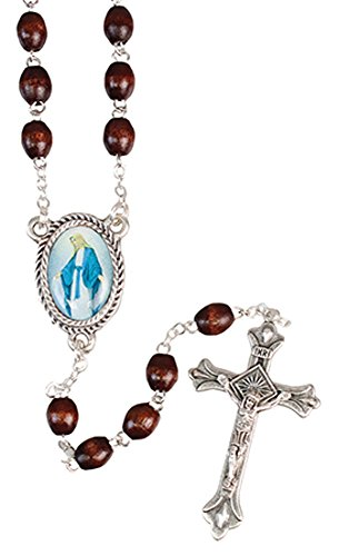 DARK-BROWN-WOOD-ROSARY-BEADS-Our-Lady-Miraculous-Catholic-Christian-Prayer-Beads