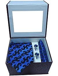 Riyasat - Blue Color Micro Fibre Men's Tie Cufflink and Pocket Square Gift Set
