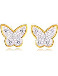 Spargz Gold Plated Pearl With AD Stone Alloy Lovely Butterfly Stud Earring For Women ALER 5018