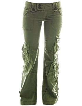 Molecule Himalaya pantalones de tiro bajo para mujeres 45062-100% Algodon, Alta calidad, Senoritas Estilo militar...