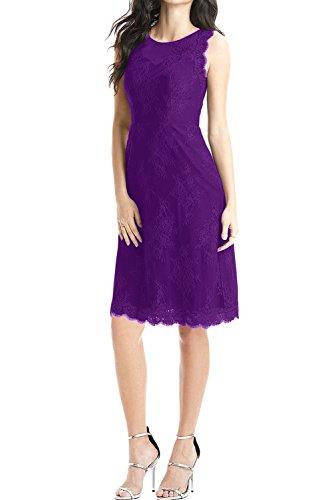 Sunvary Damen Rund Spitze Etui Cocktailkleider Kurz Abschlussballkleider Partykleider Abendkleid Violett-1