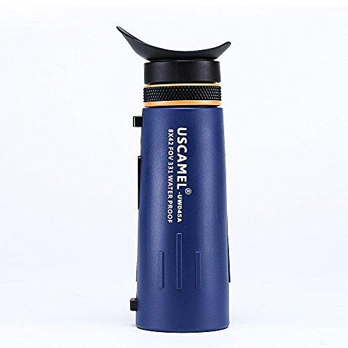 USCAMEL Telescopio Monoculare 8x42, Alto Visibilità per Bird, Watching, Impermeabile, Anti-nebbia Campeggio, blu