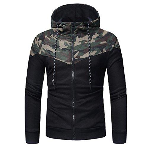 ZEZKT-Herren Hoodie Sweater Camouflage Langarm Tarnung Kapuzenpulli Outwear Männer Kapuzen Sweatshirt Tops Freizeit Kapuzenpullover Langarmshirt Jacke (M, Camouflage)