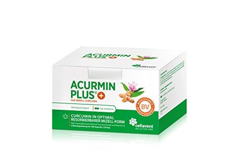 Kurkuma Kapseln hochdosiert von Acurmin PLUS®: Das Mizell-Curcuma (Curcumin) mit Vitamin D3, OHNE Piperin/Bioperin/Pfeffer von Cellavent Healthcare GmbH - 180 Kapseln (D3 Vitamin 3000)
