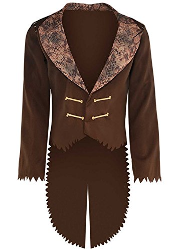 """Mens Voodoo Witch Doctor Braun Tailcoat Jacke M/L (chest 40-42"""")"""