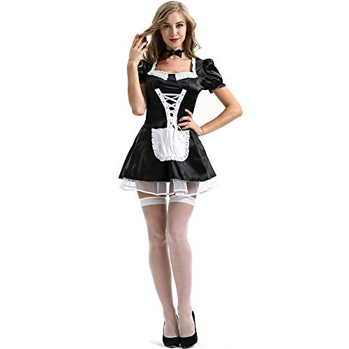 fagginakss Damen Dienstmädchen Kostüm Kleid Cosplay Frauen French Maid Anime Zimmermädchen Karneval Fasching Schürze mit Weißes Band Schwarze Fliege (Lace French Maid Sexy Kostüm)