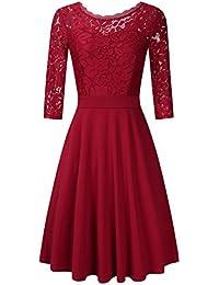 Clearlove Damen Kleider Elegant Spitzenkleid 3/4 Ärmel Cocktailkleid Rundhals Knielang Rockabilly Kleid(Verpackung MEHRWEG)