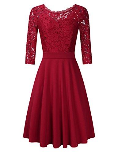 Clearlove Damen Kleider Elegant Spitzenkleid 3/4 Ärmel Cocktailkleid Rundhals Knielang Rockabilly Kleid, Weinrot, XL